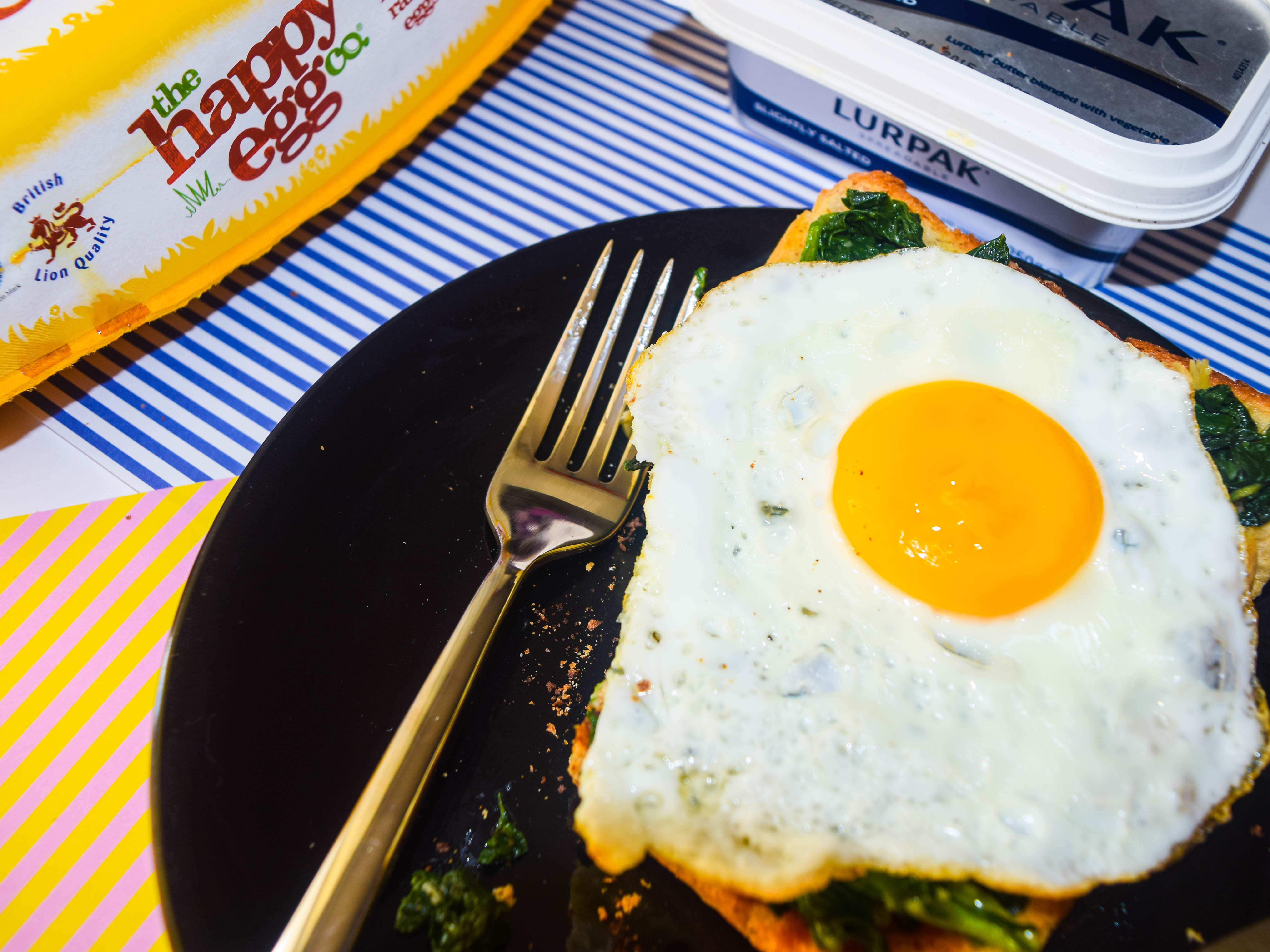 Kale, Spinach and Egg on Toast